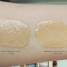 Swatches of Yes to Grapefruit CC Cream and Alba Botanica Even Advanced CC Cream