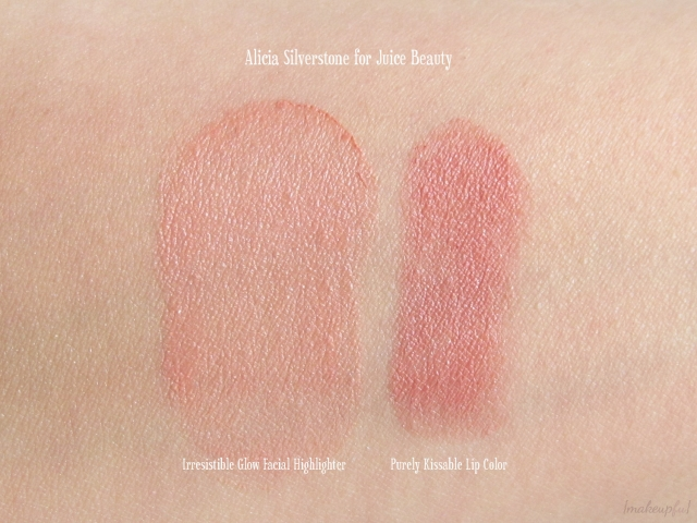 Swatches of Alicia Silverstone for Juice Beauty Irresistible Glow Facial Highlighter and Purely Kissable Lip Color