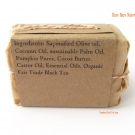 Ingredients label for the Bare Bare Naturals Pumpkin Black Tea Soap
