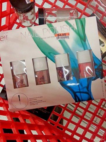 The e.l.f. 2013 Spring promotion 4-Piece Nail Polish Set in Trendy: <i>Metallic Elegance</i>, <i>Nude</i>, <i>Blushing Bombshell</i>, and <i>Mango Madness</i>