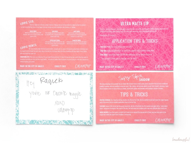 Reverse of enclosed ColourPop cards
