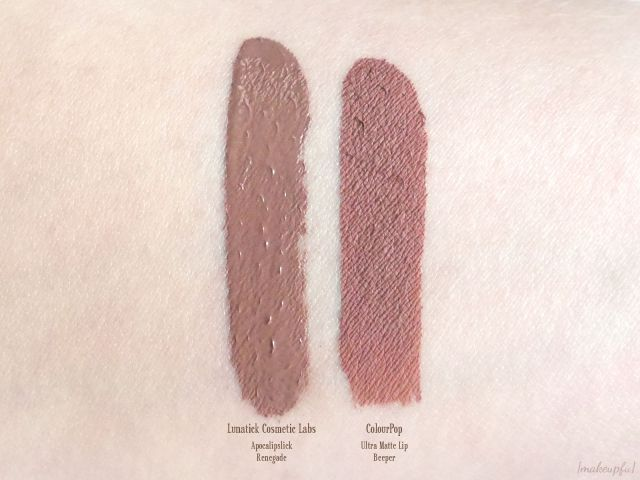 Swatches of Lunatick Cosmetic Labs Apocalipslick in <i>Renegade</i> and ColourPop Ultra Matte Lip in <i>Beeper</i>