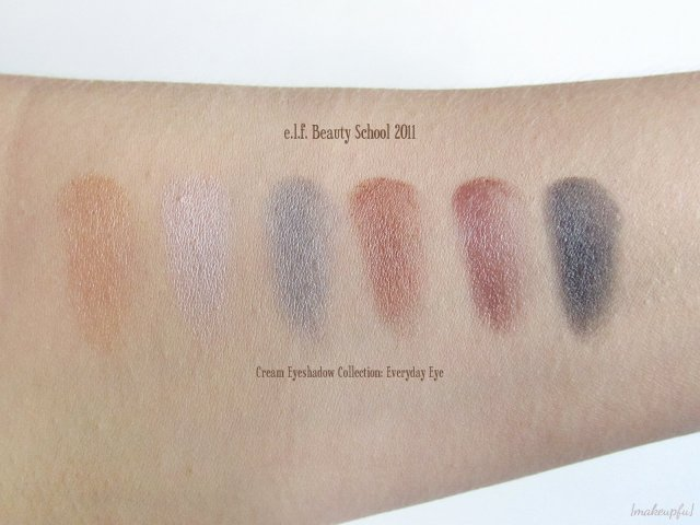 e.l.f. Beauty School 2011: Cream Eyeshadow Collection Everyday Eye Palette Swatches