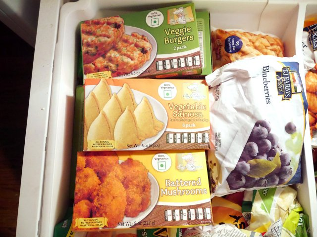 Dollar Tree frozen foods: Veggie Burgers, Vegetable Samosas, Battered Mushrooms, and blueberries