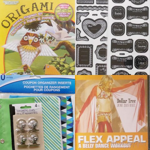 Dollar Tree Haul June 2015: Origami sets, chalkboard-like stickers, binder pouches, binder coupon inserts, magnetic clips, and fitness DVD