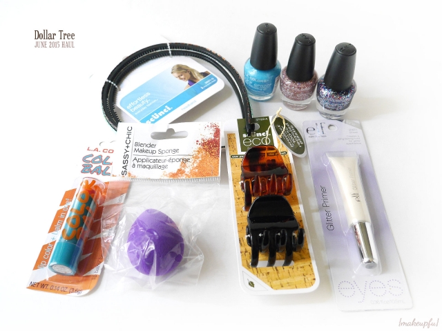 Dollar Tree Haul June 2015: Scunci headbands and Eco Clips, L.A. Glitter polishes (Baby Blue, Cocktail, Wonderland), Sassy + Chic Blender Makeup Sponge, e.l.f. Essential Glitter Primer, and L.A. Colors Color Balm in <i>Wham</i>.