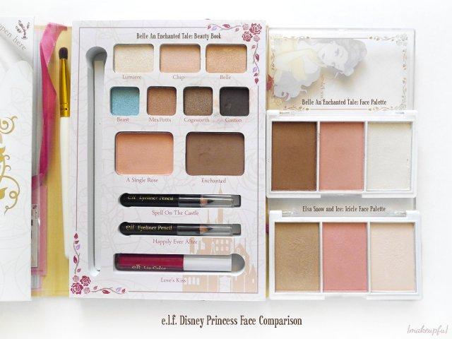 e.l.f. Disney Princess Face Comparison: Belle Beauty Book, Belle Face Palette, and Elsa Face Palette