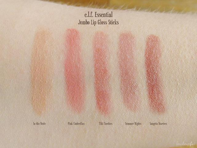 Swatches of the e.l.f. Essential Jumbo Lip Gloss Sticks in Sangria Starters, Summer Nights, Tiki Torches, Pink Umbrellas, and In the Nude.