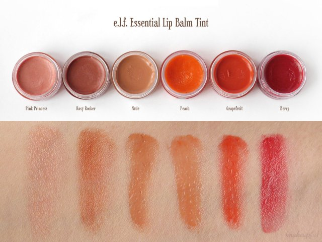 Swatches of e.l.f. Essential Lip Balm Tint in Pink Princess, Rosy Rocker, Nude, Peach, Grapefruit, and Berry.
