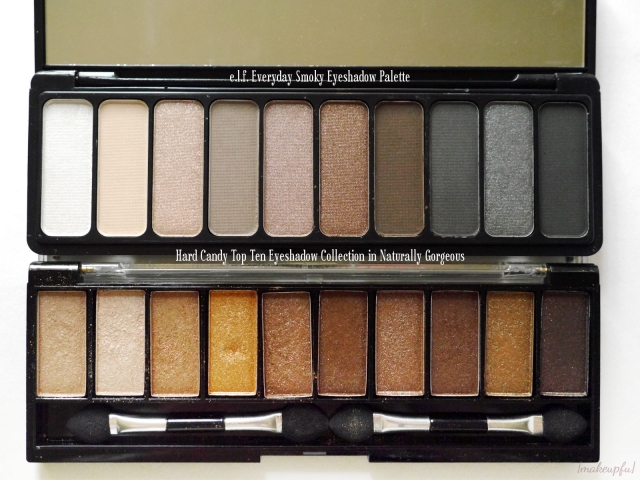 e.l.f. Everyday Smoky Eyeshadow Palette vs Hard Candy Top Ten Eyeshadow Collection in Naturally Gorgeous