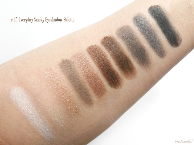 Swatches of the e.l.f. Everyday Smoky Eyeshadow Palette