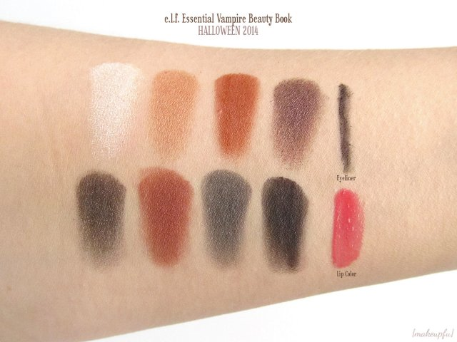Swatches of e.l.f. Limited Edition Halloween 2014 Beauty Book in Vampire
