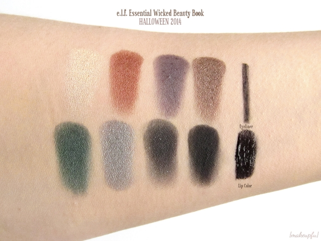 Swatches of e.l.f. Limited Edition Halloween 2014 Beauty Book in Wicked