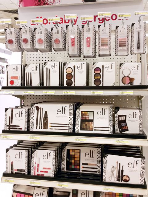 Top of the e.l.f. Holiday 2015 Collection end cap display at Target