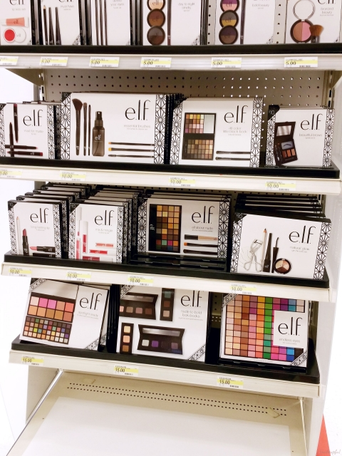 Bottom of the e.l.f. Holiday 2015 Collection end cap display at Target