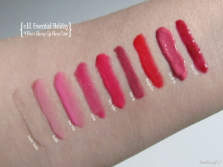 Swatches of e.l.f. Essential Holiday 9 Piece Glossy Lip Gloss Cube