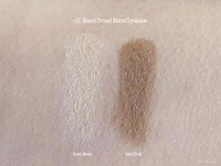 Swatches of e.l.f. Mineral Pressed Mineral Eyeshadow in Beauty Queen and Lunch Break
