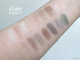 Swatches of the e.l.f. Studio 32-Pan Geometric Eyeshadow Palette: Everyday Edition