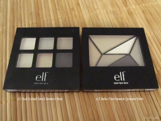Comparison of the e.l.f. Studio 6 Piece Geometric Eyeshadow Palette I & e.l.f. Back to School Natural Shadows and Brush