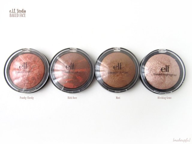 e.l.f. Studio Baked Face products: Baked Blushes in Peachy Cheeky and Rich Rose, Baked Bronzer in Maui, and Baked Highlighter in Blushing Gems