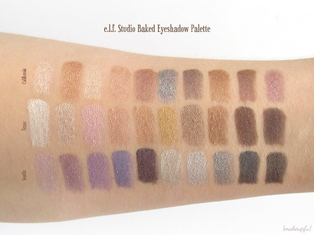 Swatches of the e.l.f. Studio Baked Eyeshadow Palettes in California, Texas and Seattle