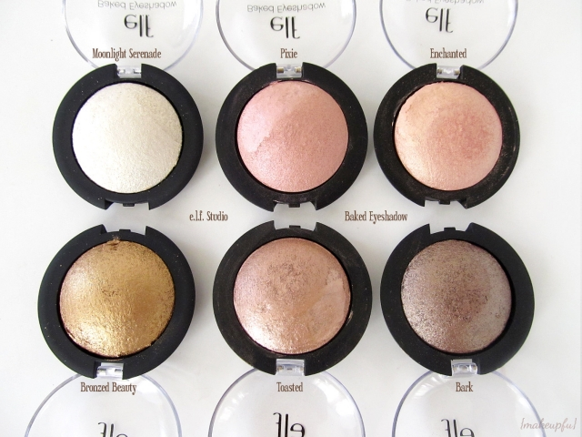 e.l.f. Studio Baked Eyeshadow: Moonlight Serenade, Pixie, Enchanted, Bronzed Beauty, Toasted, and Bark
