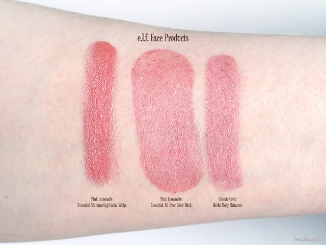 Swatches of the e.l.f. Essential Shimmering Facial Whip & All Over Color Stick in Pink Lemonade, and the Studio Body Shimmer in Cosmic Coral