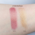 Swatches of the e.l.f. Studio Body Shimmer in Golden Glow and Cosmic Coral
