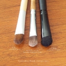 "Eyeshadow Brush Comparison: EcoTools Eyeshadow Brush, Everyday Minerals Everyday Eyeshadow Brush, and e.l.f. Studio Eyeshadow ""C"" Brush"