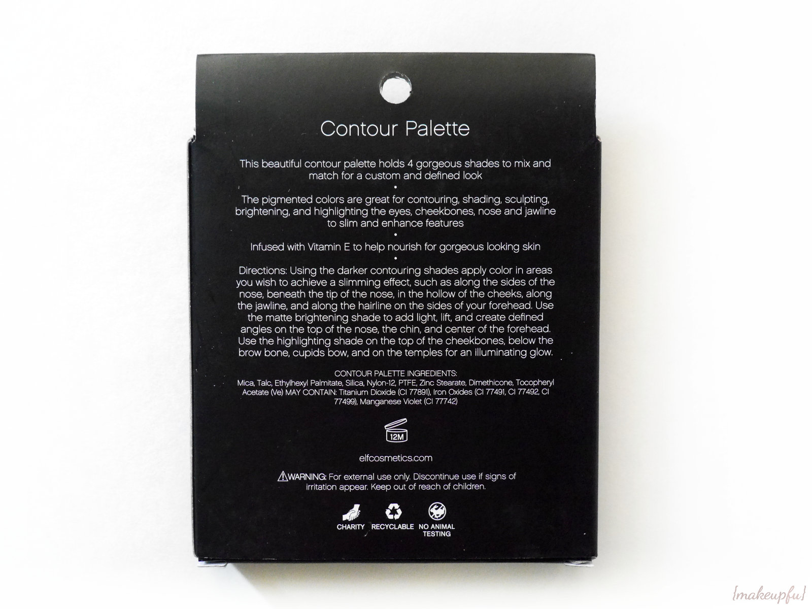 Reverse Of The Box Packaging For The Elf Studio Contour Palette