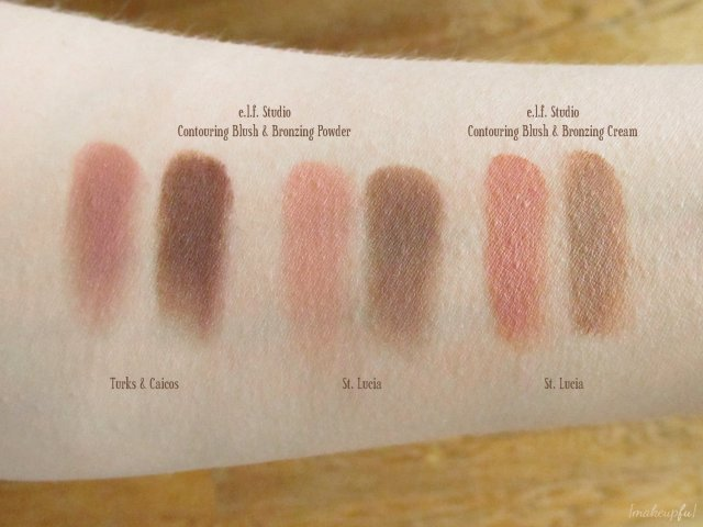 Swatches of e.l.f. Studio Contouring Blush and Bronzing Powder in Turks & Caicos and St. Lucia; e.l.f. Studio Contouring Blush and Bronzing Cream in St. Lucia
