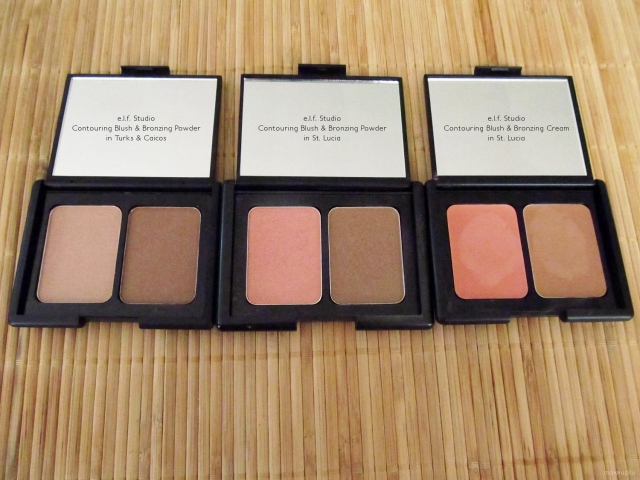 e.l.f. Studio Contouring Blush & Bronzing Powder in Turks & Caicos and St. Lucia and e.l.f. Studio Contouring Blush & Bronzing Cream in St. Lucia