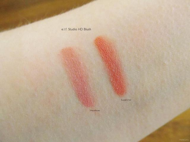 Swatches of e.l.f. Studio HD Blush in Headliner and Superstar