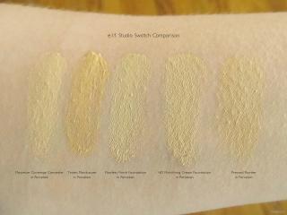e.l.f. Studio Face Swatches:, Maximum Coverage Concealer (Porcelain), Tinted Moisturizer (Porcelain), Flawless Finish Foundation (Porcelain), HD Mattifying Cream Foundation (Porcelain), and  Pressed Powder (Porcelain)