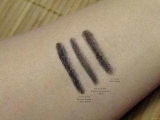 e.l.f. eyeliner swatches: Shimmer Eyeliner in Black Bandit, Brightening Eyeliner in Black, and Kohl Eyeliner
