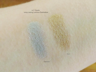Swatches of e.l.f. Studio Long-Lasting Lustrous Eyeshadow in Toast and Celebration