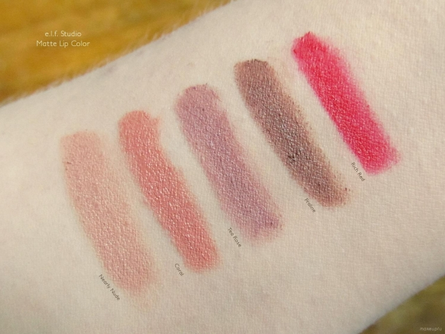 Swatches of e.l.f. Studio Matte Lip Color in Nearly Nude, Coral, Tea Rose, Praline, and Rich Red