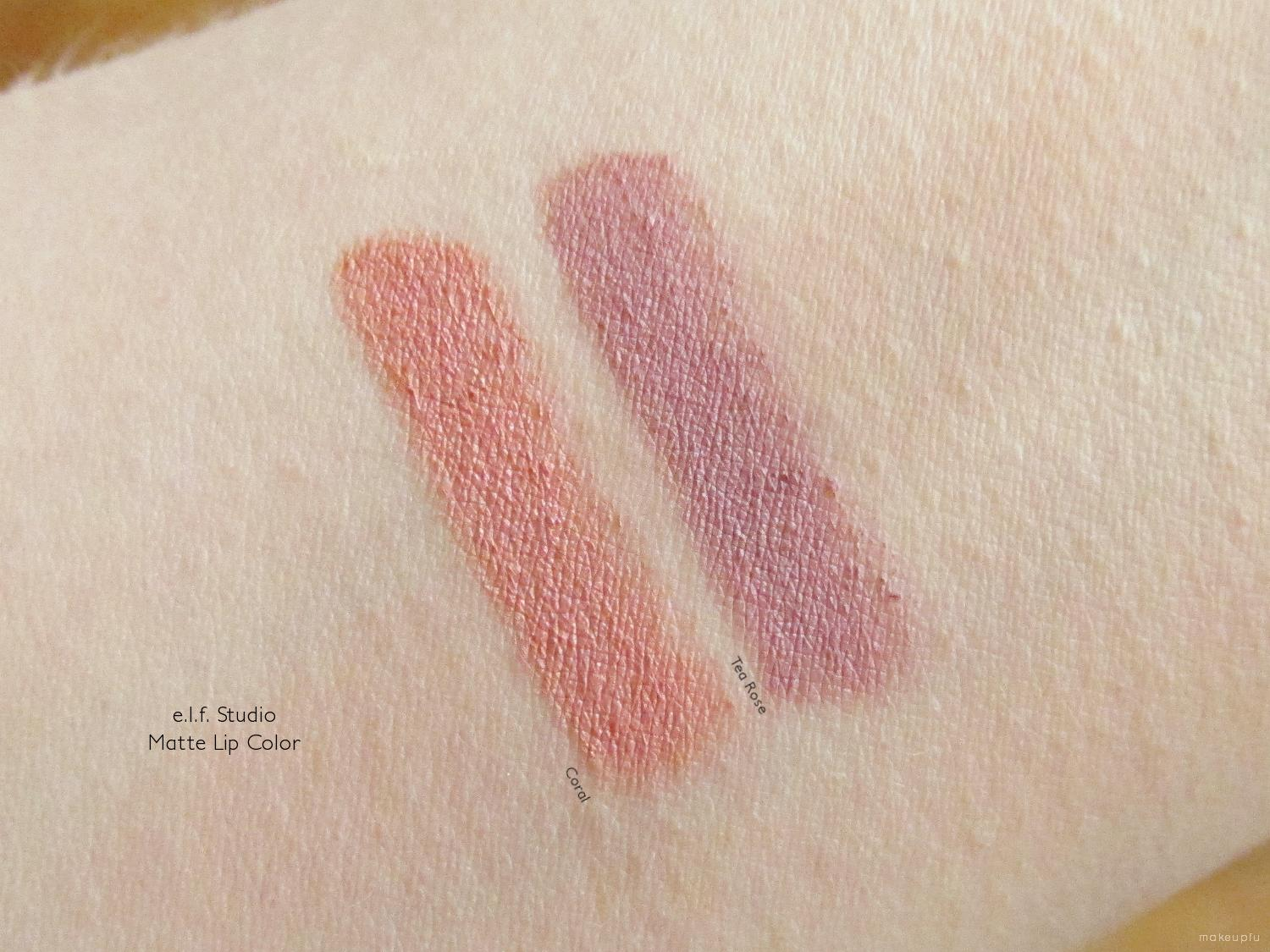 Swatches of e.l.f. Studio Matte Lip Color in Coral and Tea Rose