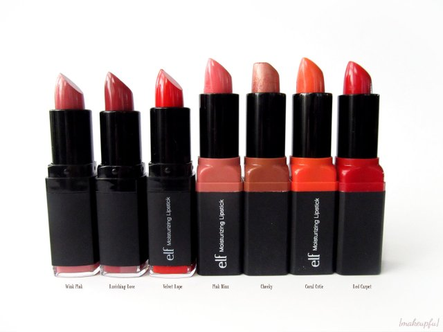 e.l.f. Studio Moisturizing Lipstick in Wink Pink, Ravishing Rose, Velvet Rope, Pink Minx, Cheeky, Coral Cutie, and Red Carpet