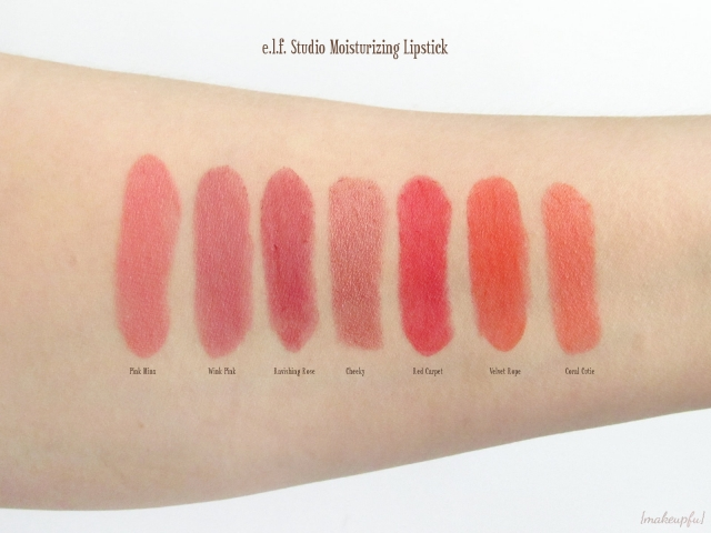 Swatches of the e.l.f. Studio Moisturizing Lipstick in Pink Minx, Wink Pink, Ravishing Rose, Cheeky, Red Carpet, Velvet Rope, and Coral Cutie