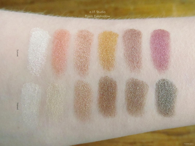 Swatches of the e.l.f. Studio Prism Eyeshadow in Sunset and Naked