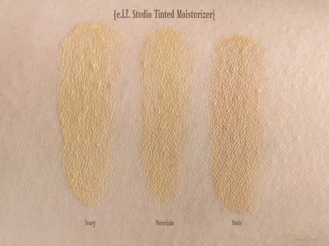 Swatches of e.l.f. Studio Tinted Moisturizer in Ivory, Porcelain, and Nude