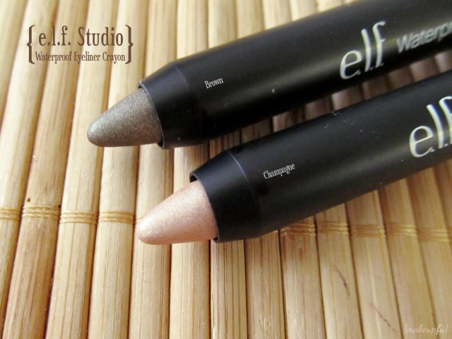 e.l.f. Studio Waterproof Eyeliner Crayon in Brown and Champagne