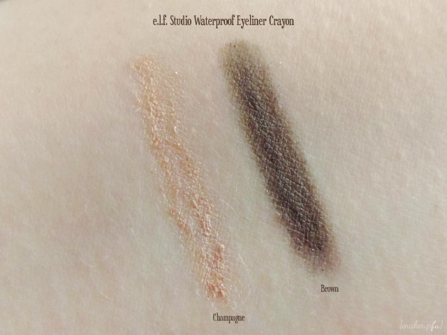 Swatches of e.l.f. Studio Waterproof Eyeliner Crayon in Brown and Champagne