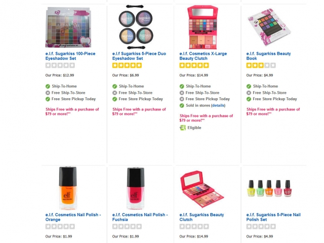 Screenshot of ToysRUs.com showing e.l.f. Sugarkiss