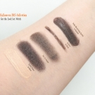 Swatches of the e.l.f. Halloween 2015 Get the Look Set in Witch: Essential Eyelid Primer in Sheer, Essential Duo Eyeshadow, Essential Brightening Eyeliner in Black, and Studio Moisturizing Lipstick in Blackout