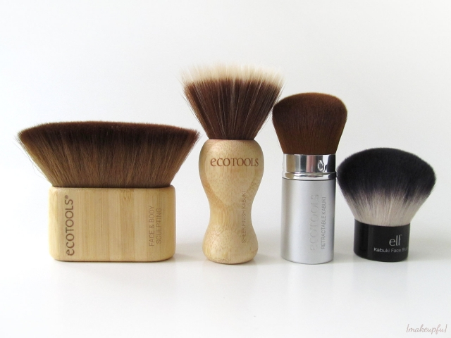 Brush comparison (from left to right): ecoTOOLS Face & Body Sculpting Brush, ecoTOOLS Sheer Finish Kabuki Brush, ecoTOOLS Retractable Kabuki brush (vintage version), and the e.l.f. Studio Kabuki Face Brush.