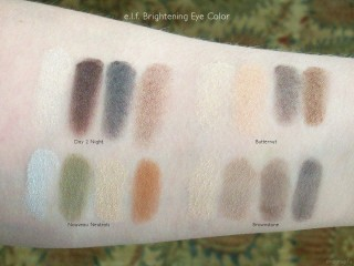 e.l.f. Brightening Eye Color in Day 2 Night, Butternut, Nouveau Neutrals, Brownstone