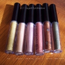 e.l.f. Liquid Eyeshadow (Direct Sunlight): Gold, Sultry Satin, Misty Mauve, Berrylicious, Coco Loco and Green Machine.