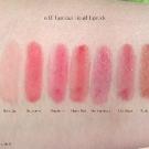 e.l.f. Luscious Lipstick Swatches: Baby Lips, Cherry Tart, Maple Sugar, Cherry Tart, Maple Sugar, Pink Lemonade, Raspberry, Ruby Slipper, Strawberry